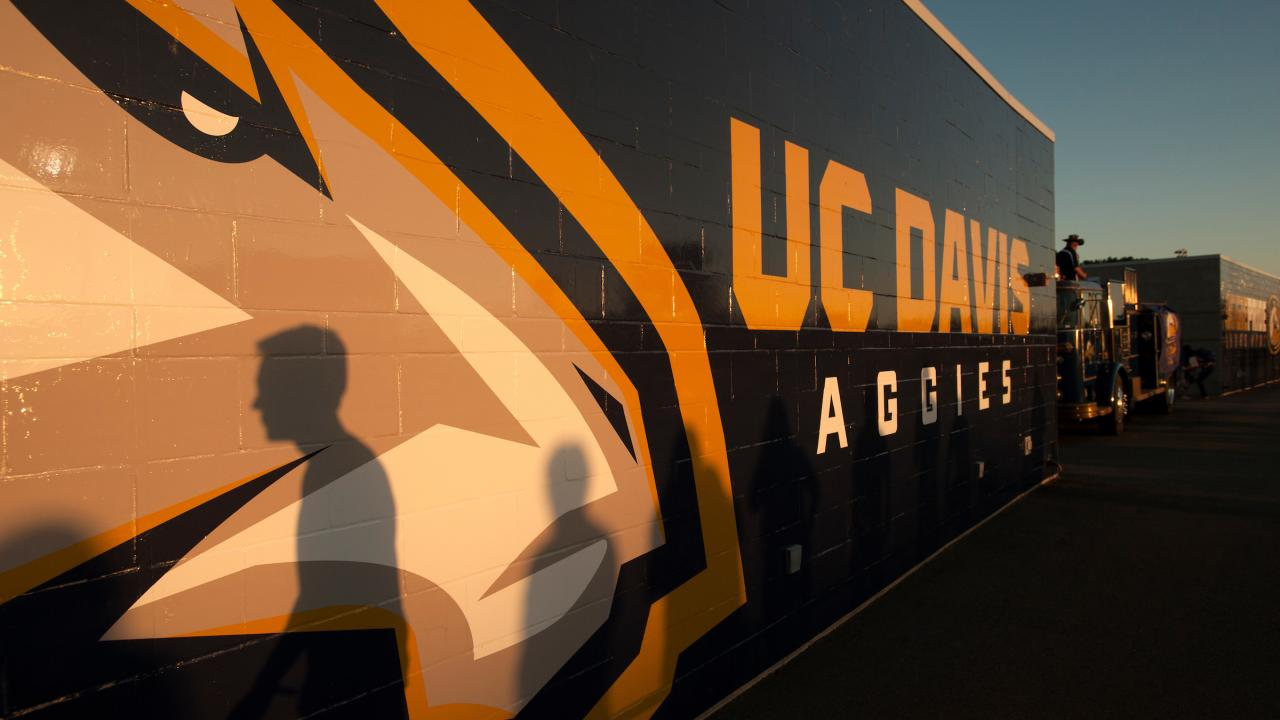 picture of wall with uc davis written on it