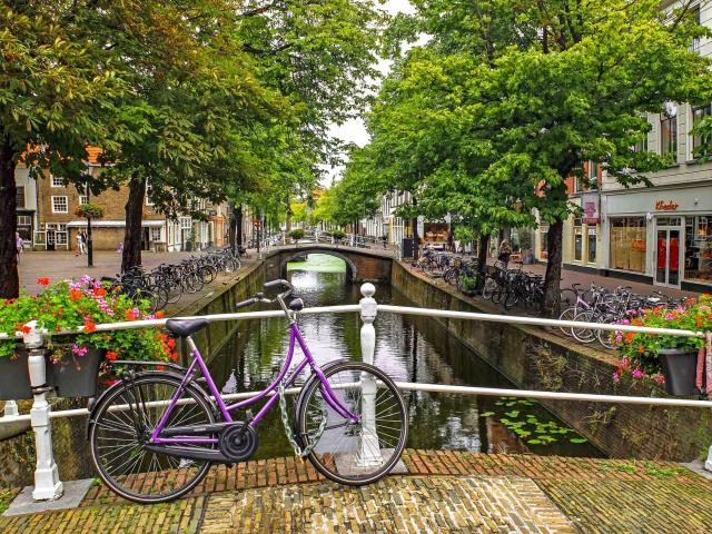 picture of the netherlands in a city with a bike